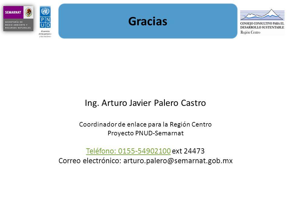 Gracias Ing. Arturo Javier Palero Castro Coordinador de enlace para la Región Centro Proyecto PNUD-Semarnat Teléfono: 0155-54902100Teléfono: 0155-5490