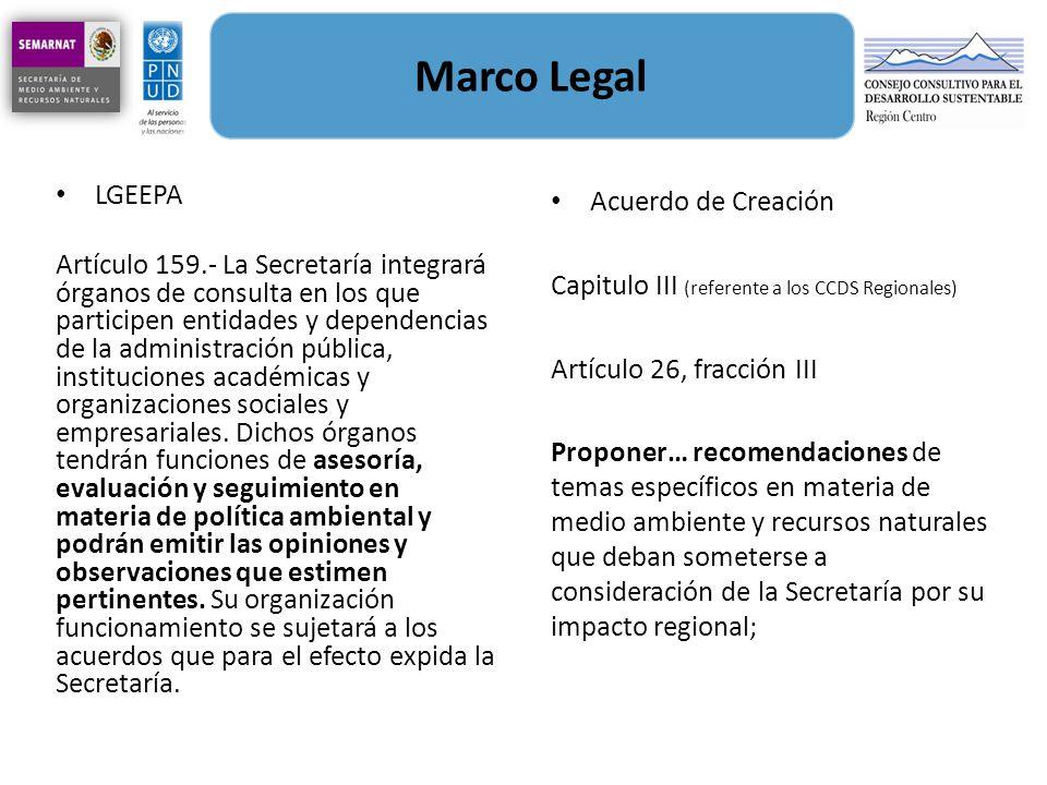 Marco Legal LGEEPA Artículo 159.- La Secretaría integrará órganos de consulta en los que participen entidades y dependencias de la administración públ