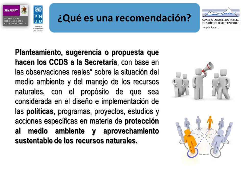 ¿Qué es una recomendación? Planteamiento, sugerencia o propuesta que hacen los CCDS a la Secretaría, con base en las observaciones reales* sobre la si