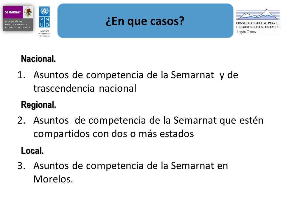 ¿En que casos? 1.Asuntos de competencia de la Semarnat y de trascendencia nacional 2.Asuntos de competencia de la Semarnat que estén compartidos con d