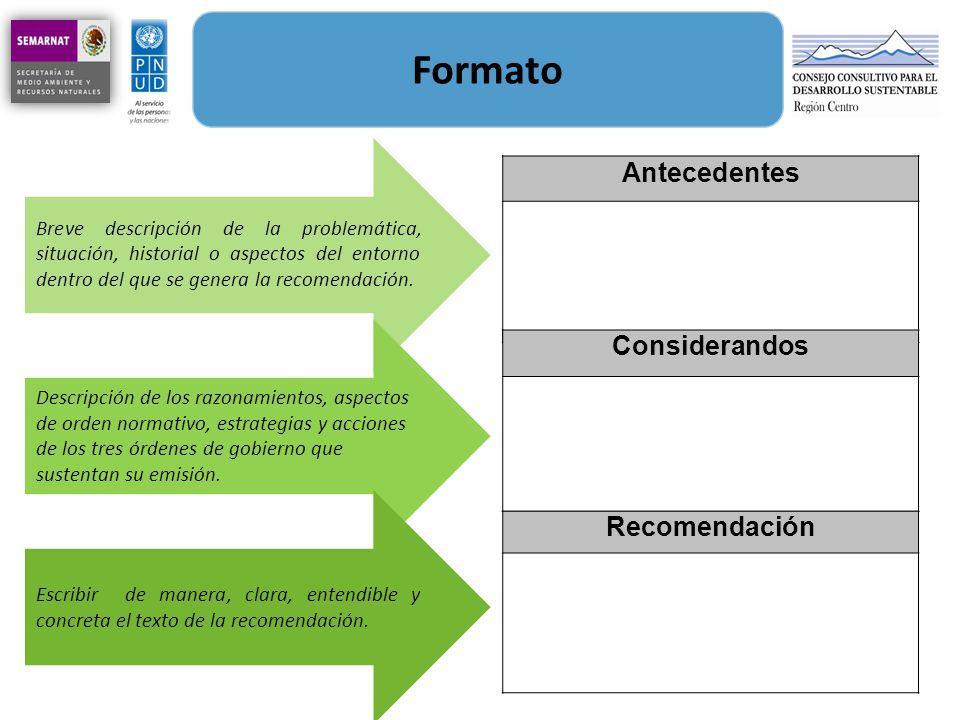 Formato Antecedentes Considerandos Recomendación Breve descripción de la problemática, situación, historial o aspectos del entorno dentro del que se g