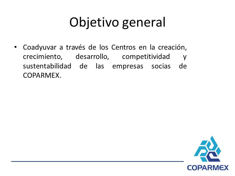Objetivo general Coadyuvar a través de los Centros en la creación, crecimiento, desarrollo, competitividad y sustentabilidad de las empresas socias de