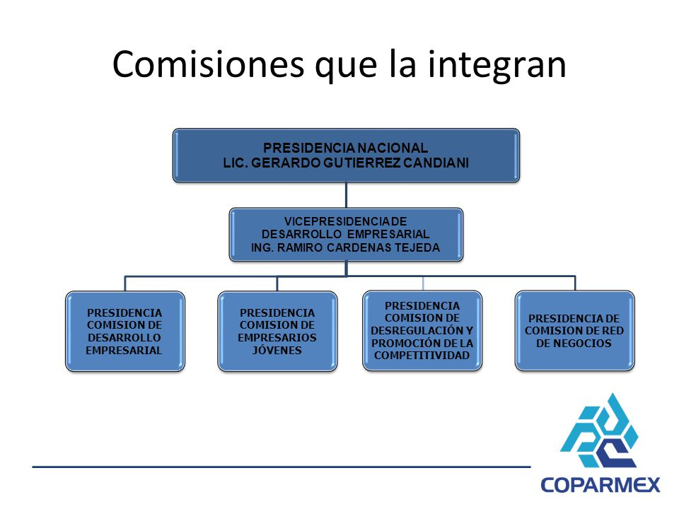 Comisiones que la integran PRESIDENCIA NACIONAL LIC. GERARDO GUTIERREZ CANDIANI VICEPRESIDENCIA DE DESARROLLO EMPRESARIAL ING. RAMIRO CARDENAS TEJEDA