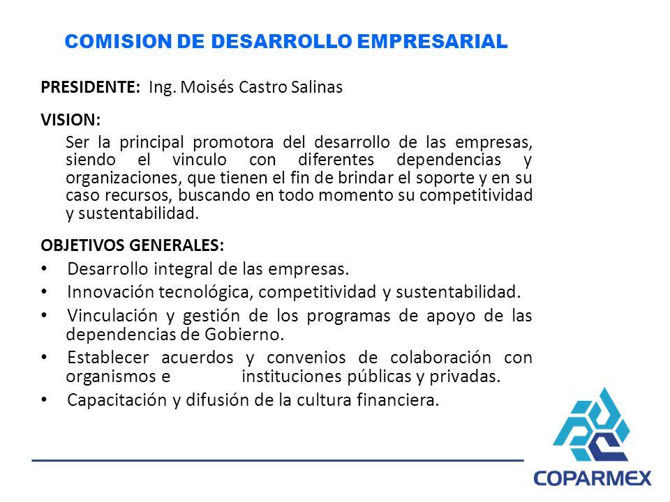 COMISION DE DESARROLLO EMPRESARIAL PRESIDENTE: Ing. Moisés Castro Salinas VISION: Ser la principal promotora del desarrollo de las empresas, siendo el