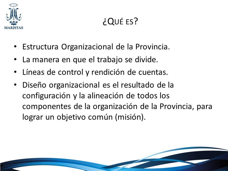 ¿Q UÉ ES ? Estructura Organizacional de la Provincia. La manera en que el trabajo se divide. Líneas de control y rendición de cuentas. Diseño organiza