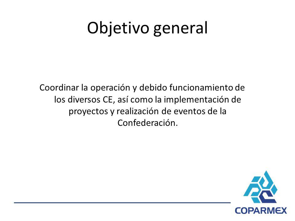 Objetivo general Coordinar la operación y debido funcionamiento de los diversos CE, así como la implementación de proyectos y realización de eventos d