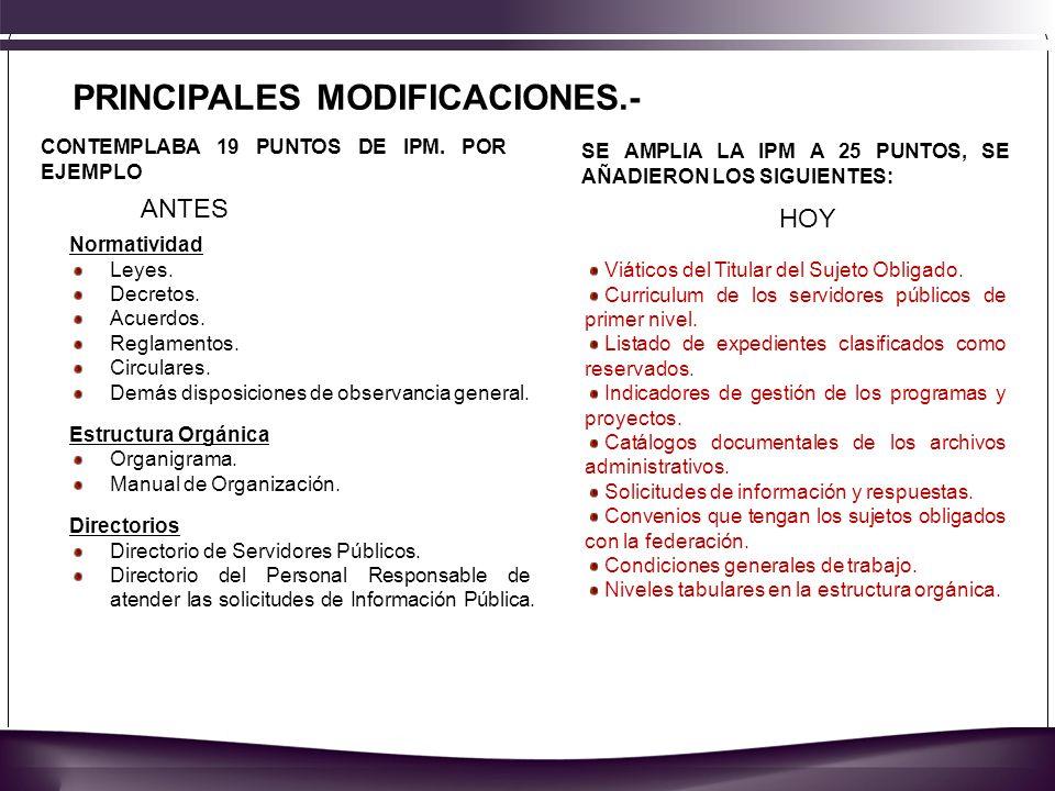 PRINCIPALES MODIFICACIONES.- Normatividad Leyes. Decretos.