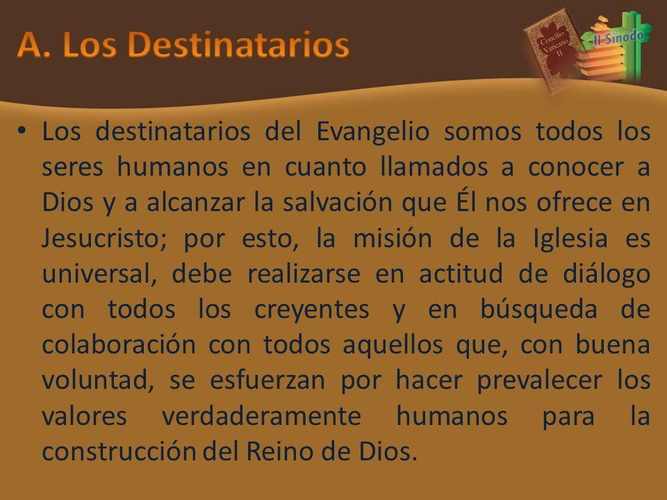 Los destinatarios del Evangelio somos todos los seres humanos en cuanto llamados a conocer a Dios y a alcanzar la salvación que Él nos ofrece en Jesuc
