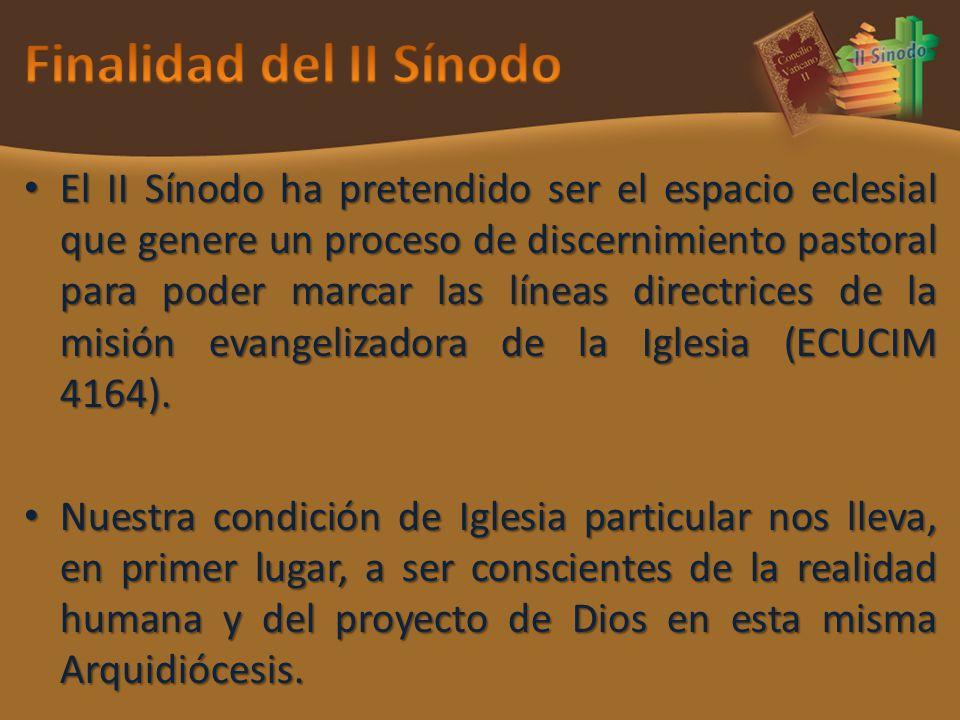 El II Sínodo ha pretendido ser el espacio eclesial que genere un proceso de discernimiento pastoral para poder marcar las líneas directrices de la mis