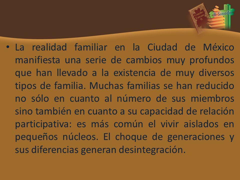 La realidad familiar en la Ciudad de México manifiesta una serie de cambios muy profundos que han llevado a la existencia de muy diversos tipos de fam