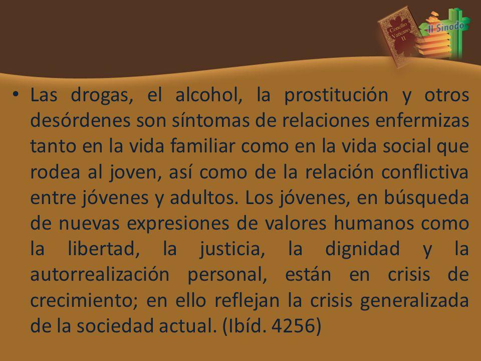Las drogas, el alcohol, la prostitución y otros desórdenes son síntomas de relaciones enfermizas tanto en la vida familiar como en la vida social que