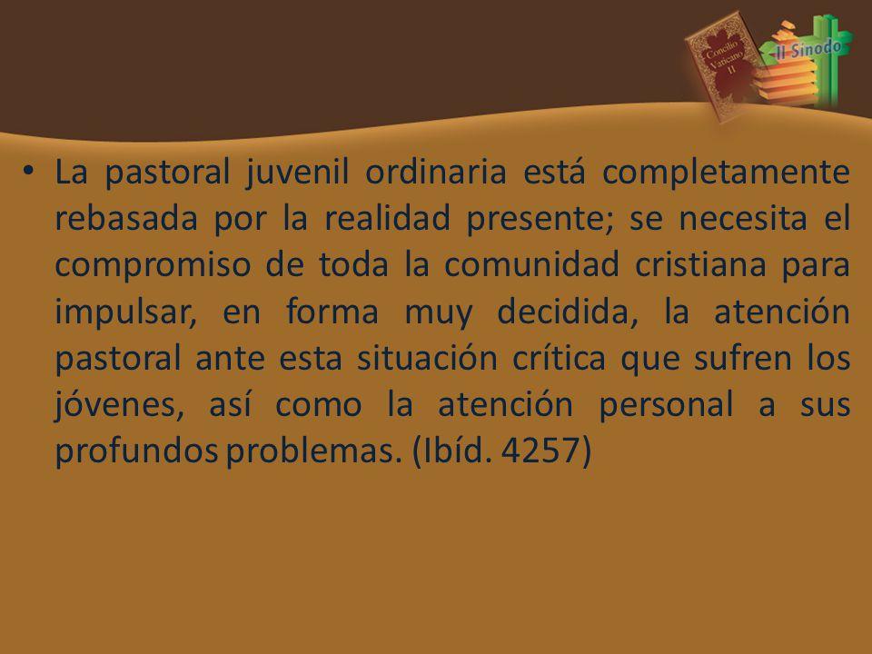 La pastoral juvenil ordinaria está completamente rebasada por la realidad presente; se necesita el compromiso de toda la comunidad cristiana para impu