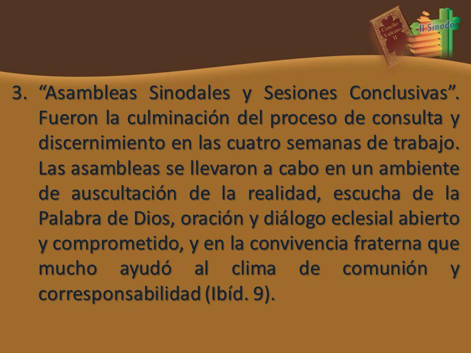 3.Asambleas Sinodales y Sesiones Conclusivas. Fueron la culminación del proceso de consulta y discernimiento en las cuatro semanas de trabajo. Las asa