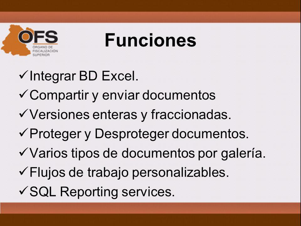 Funciones Integrar BD Excel. Compartir y enviar documentos Versiones enteras y fraccionadas.