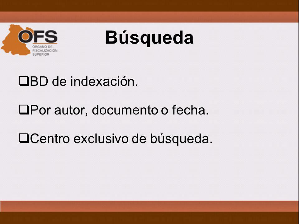 Búsqueda BD de indexación. Por autor, documento o fecha. Centro exclusivo de búsqueda.