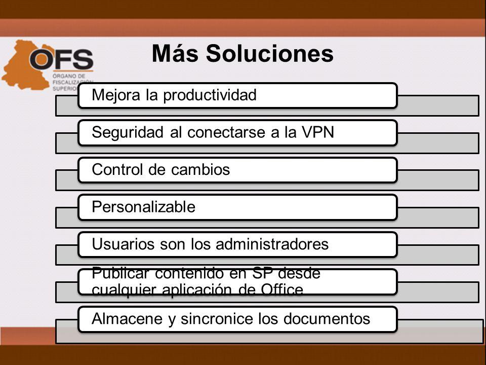 Más Soluciones Mejora la productividadSeguridad al conectarse a la VPNControl de cambiosPersonalizableUsuarios son los administradores Publicar contenido en SP desde cualquier aplicación de Office Almacene y sincronice los documentos