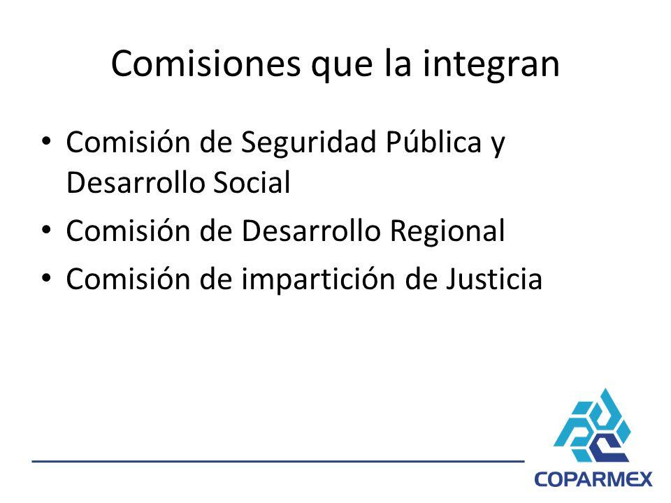 Comisiones que la integran Comisión de Seguridad Pública y Desarrollo Social Comisión de Desarrollo Regional Comisión de impartición de Justicia