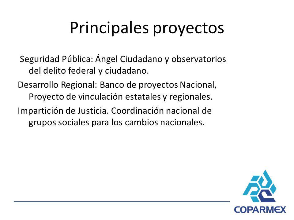 Principales proyectos Seguridad Pública: Ángel Ciudadano y observatorios del delito federal y ciudadano. Desarrollo Regional: Banco de proyectos Nacio