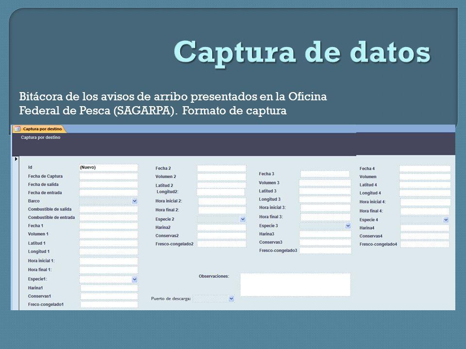 Bitácora de los avisos de arribo presentados en la Oficina Federal de Pesca (SAGARPA).