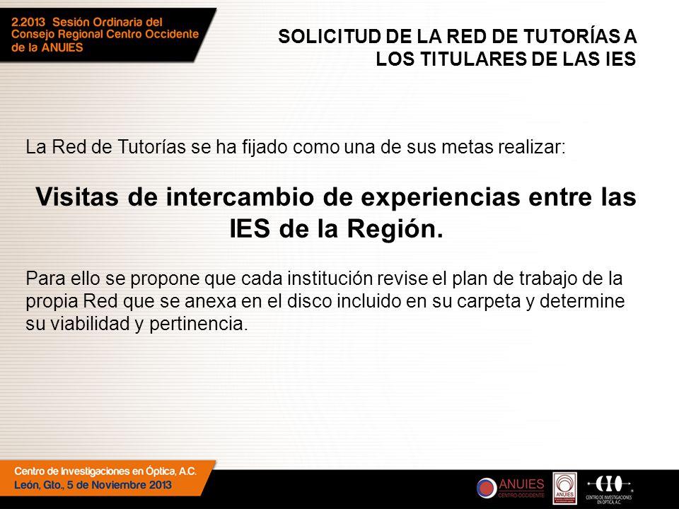 SOLICITUD DE LA RED DE TUTORÍAS A LOS TITULARES DE LAS IES La Red de Tutorías se ha fijado como una de sus metas realizar: Visitas de intercambio de experiencias entre las IES de la Región.