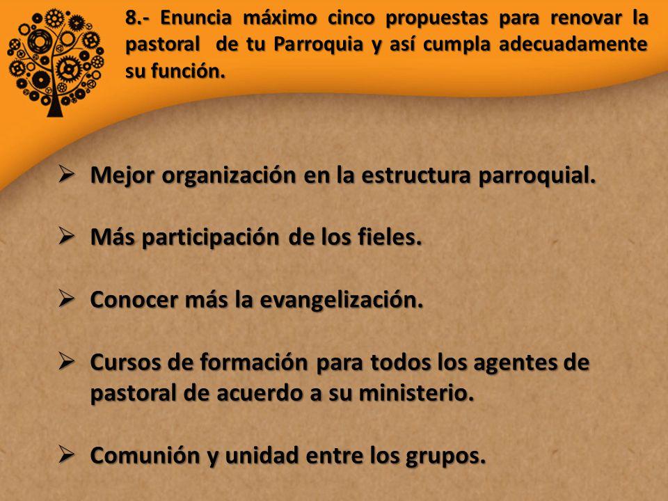 8.- Enuncia máximo cinco propuestas para renovar la pastoral de tu Parroquia y así cumpla adecuadamente su función.
