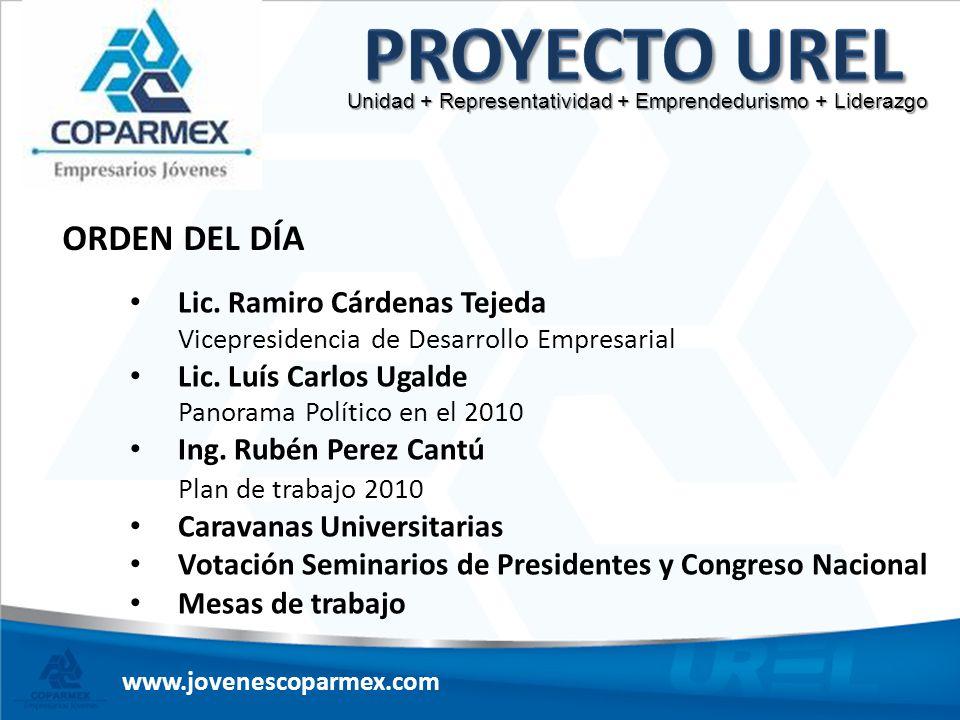 ORDEN DEL DÍA Lic. Ramiro Cárdenas Tejeda Vicepresidencia de Desarrollo Empresarial Lic. Luís Carlos Ugalde Panorama Político en el 2010 Ing. Rubén Pe