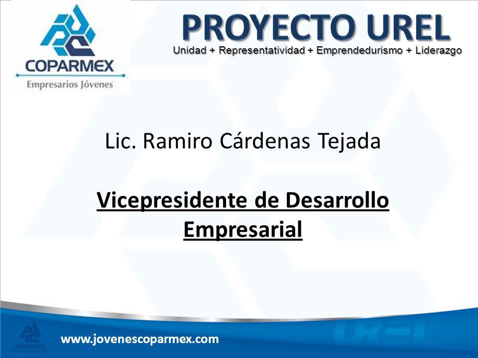 www.jovenescoparmex.com Unidad + Representatividad + Emprendedurismo + Liderazgo Lic. Ramiro Cárdenas Tejada Vicepresidente de Desarrollo Empresarial