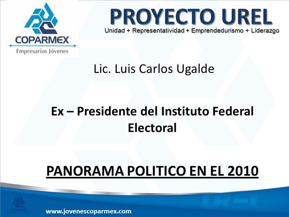 www.jovenescoparmex.com Lic. Luis Carlos Ugalde Ex – Presidente del Instituto Federal Electoral PANORAMA POLITICO EN EL 2010 Unidad + Representativida