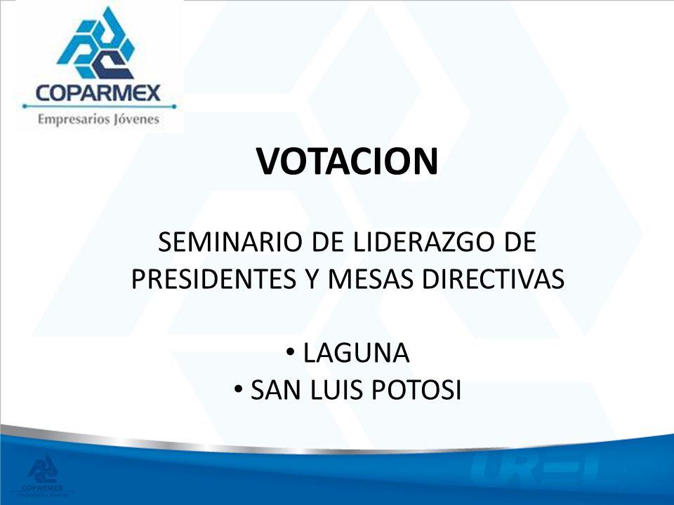 VOTACION SEMINARIO DE LIDERAZGO DE PRESIDENTES Y MESAS DIRECTIVAS LAGUNA SAN LUIS POTOSI