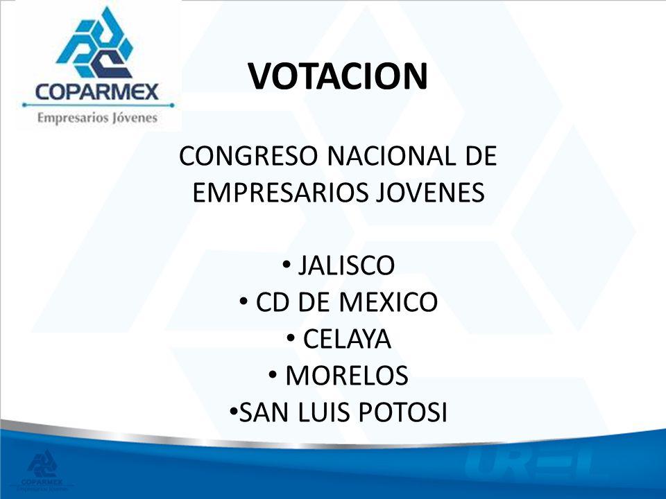 VOTACION CONGRESO NACIONAL DE EMPRESARIOS JOVENES JALISCO CD DE MEXICO CELAYA MORELOS SAN LUIS POTOSI