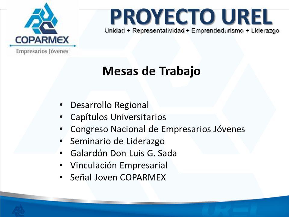 Mesas de Trabajo Desarrollo Regional Capítulos Universitarios Congreso Nacional de Empresarios Jóvenes Seminario de Liderazgo Galardón Don Luis G. Sad