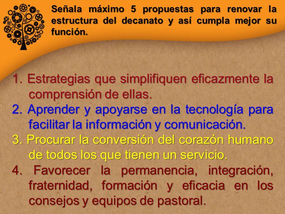 Señala máximo 5 propuestas para renovar la estructura del decanato y así cumpla mejor su función.