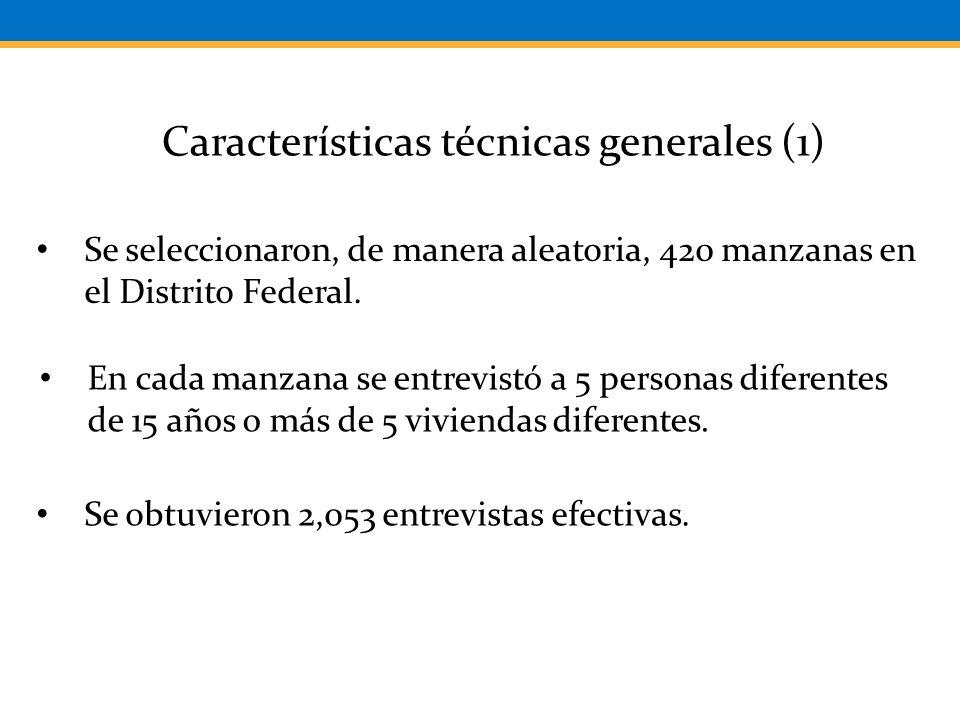 Características técnicas generales (1) Se seleccionaron, de manera aleatoria, 420 manzanas en el Distrito Federal.