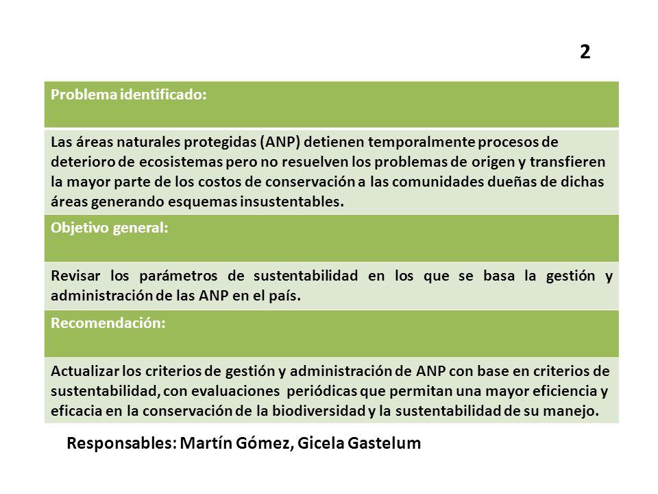 Problema identificado: Las áreas naturales protegidas (ANP) detienen temporalmente procesos de deterioro de ecosistemas pero no resuelven los problema