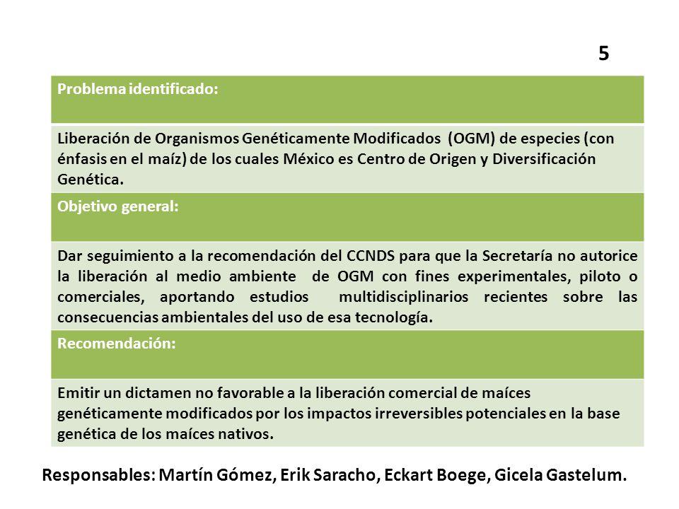Problema identificado: Liberación de Organismos Genéticamente Modificados (OGM) de especies (con énfasis en el maíz) de los cuales México es Centro de