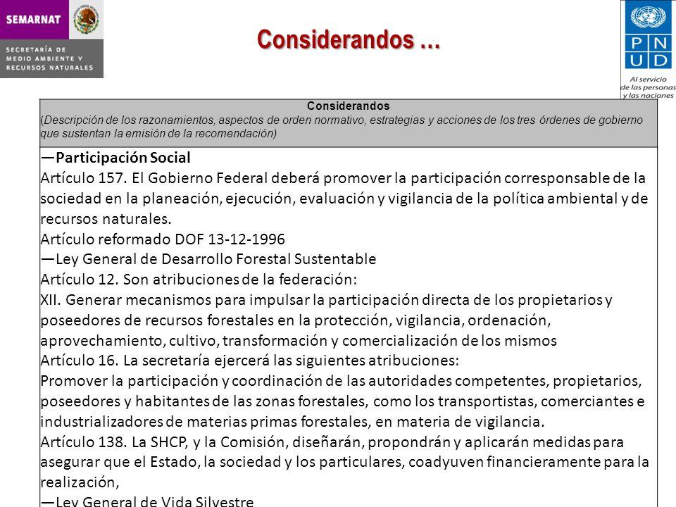 Considerandos (Descripción de los razonamientos, aspectos de orden normativo, estrategias y acciones de los tres órdenes de gobierno que sustentan la emisión de la recomendación) Participación Social Artículo 157.