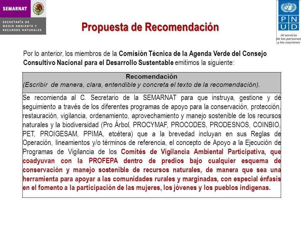 Por lo anterior, los miembros de la Comisión Técnica de la Agenda Verde del Consejo Consultivo Nacional para el Desarrollo Sustentable emitimos la siguiente: Propuesta de Recomendación Recomendación (Escribir de manera, clara, entendible y concreta el texto de la recomendación).