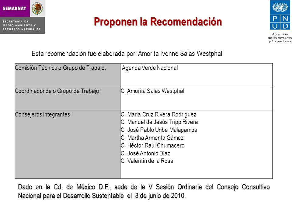 Esta recomendación fue elaborada por: Amorita Ivonne Salas Westphal Proponen la Recomendación Comisión Técnica o Grupo de Trabajo: Agenda Verde Nacional Coordinador de o Grupo de Trabajo:C.