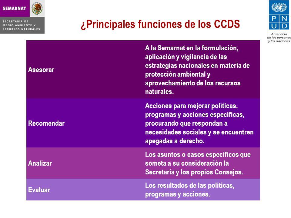 ¿Principales funciones de los CCDS Asesorar A la Semarnat en la formulación, aplicación y vigilancia de las estrategias nacionales en materia de protección ambiental y aprovechamiento de los recursos naturales.
