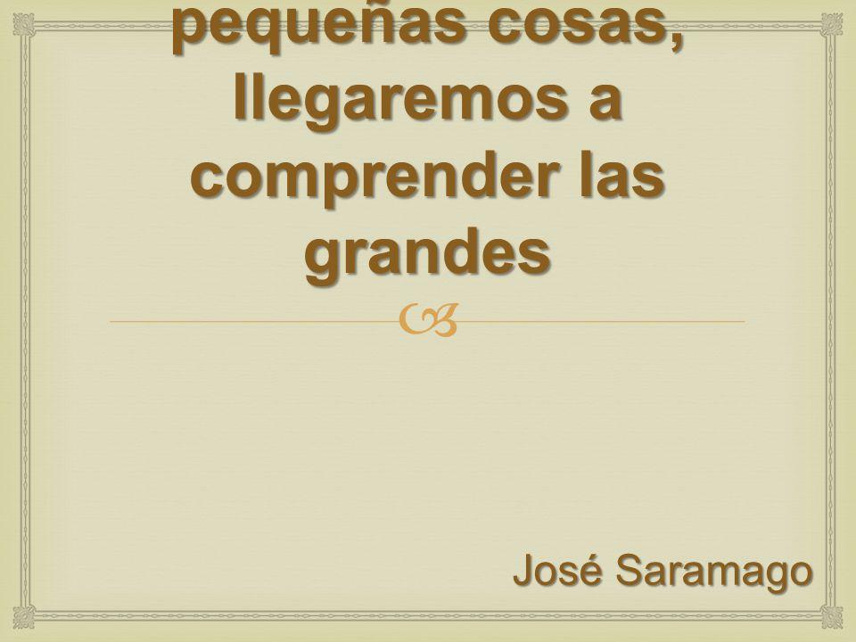 Solo si nos detenemos a pensar en las pequeñas cosas, llegaremos a comprender las grandes José Saramago