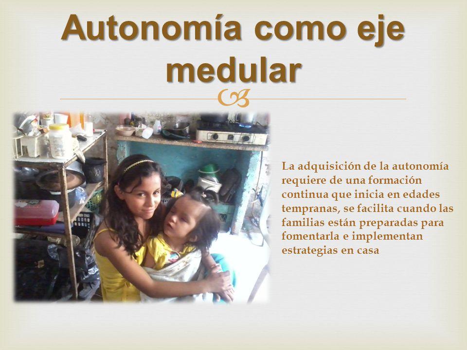 Autonomía como eje medular La adquisición de la autonomía requiere de una formación continua que inicia en edades tempranas, se facilita cuando las familias están preparadas para fomentarla e implementan estrategias en casa