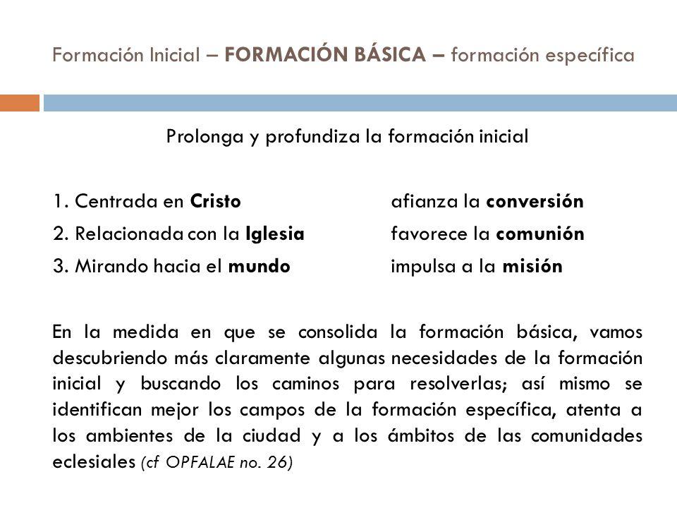 Formación Inicial – FORMACIÓN BÁSICA – formación específica Prolonga y profundiza la formación inicial 1.