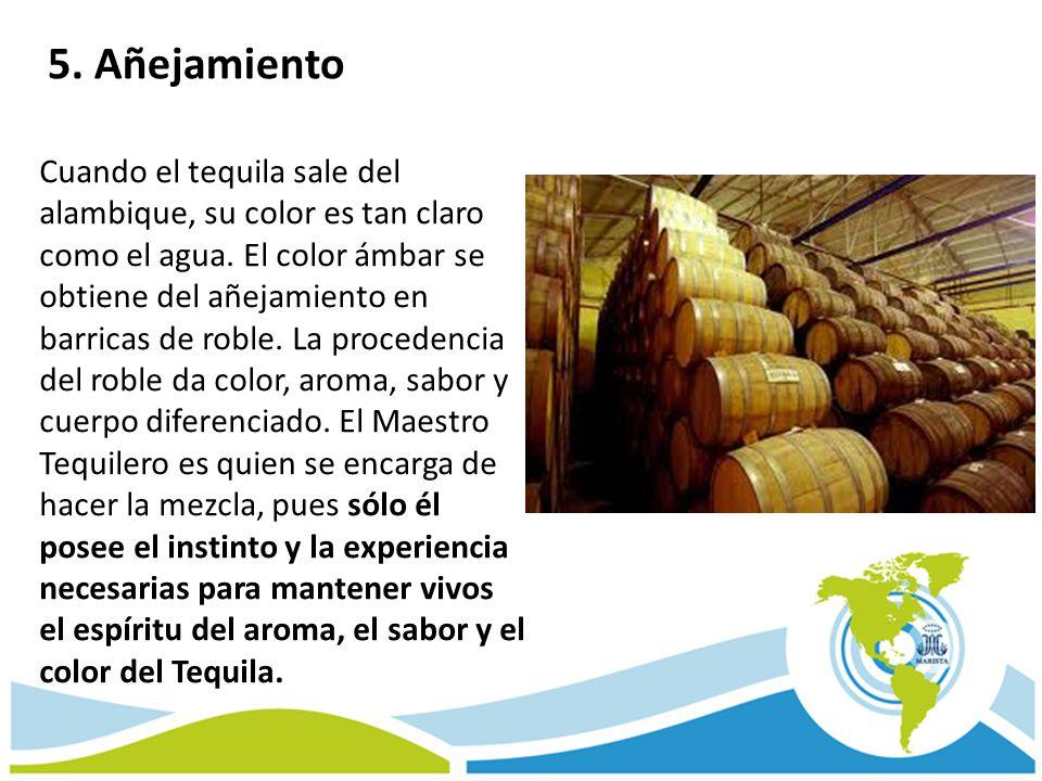 Cuando el tequila sale del alambique, su color es tan claro como el agua. El color ámbar se obtiene del añejamiento en barricas de roble. La procedenc