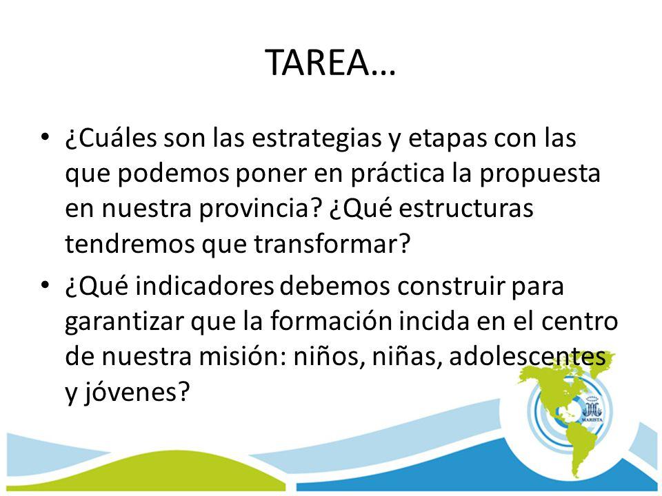 TAREA… ¿Cuáles son las estrategias y etapas con las que podemos poner en práctica la propuesta en nuestra provincia? ¿Qué estructuras tendremos que tr