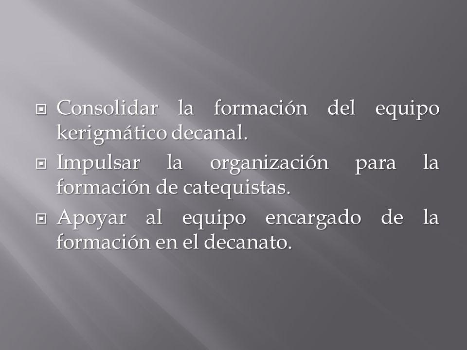 Consolidar la formación del equipo kerigmático decanal.