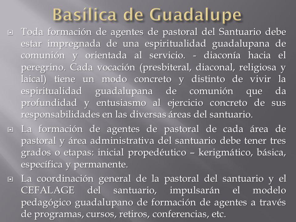 Toda formación de agentes de pastoral del Santuario debe estar impregnada de una espiritualidad guadalupana de comunión y orientada al servicio.