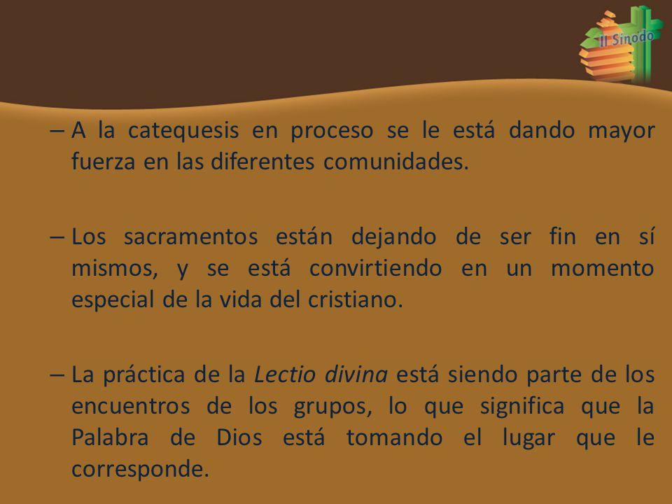 – A la catequesis en proceso se le está dando mayor fuerza en las diferentes comunidades. – Los sacramentos están dejando de ser fin en sí mismos, y s