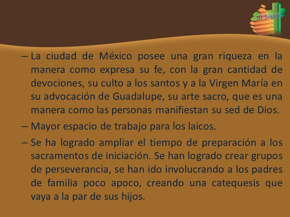 – La ciudad de México posee una gran riqueza en la manera como expresa su fe, con la gran cantidad de devociones, su culto a los santos y a la Virgen