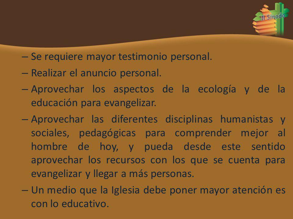 – Se requiere mayor testimonio personal. – Realizar el anuncio personal. – Aprovechar los aspectos de la ecología y de la educación para evangelizar.