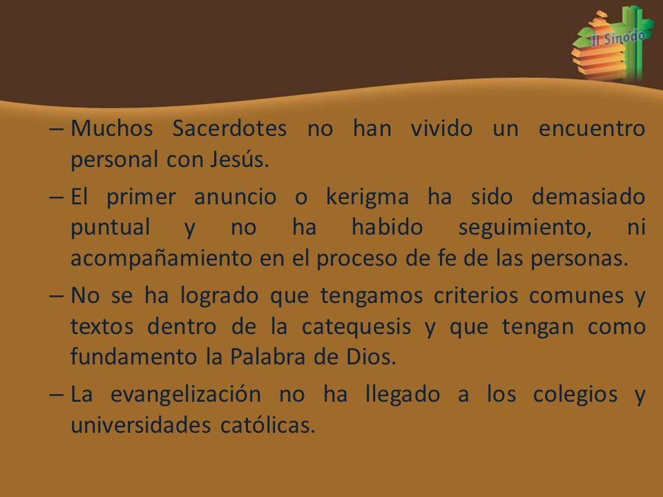 – Muchos Sacerdotes no han vivido un encuentro personal con Jesús. – El primer anuncio o kerigma ha sido demasiado puntual y no ha habido seguimiento,